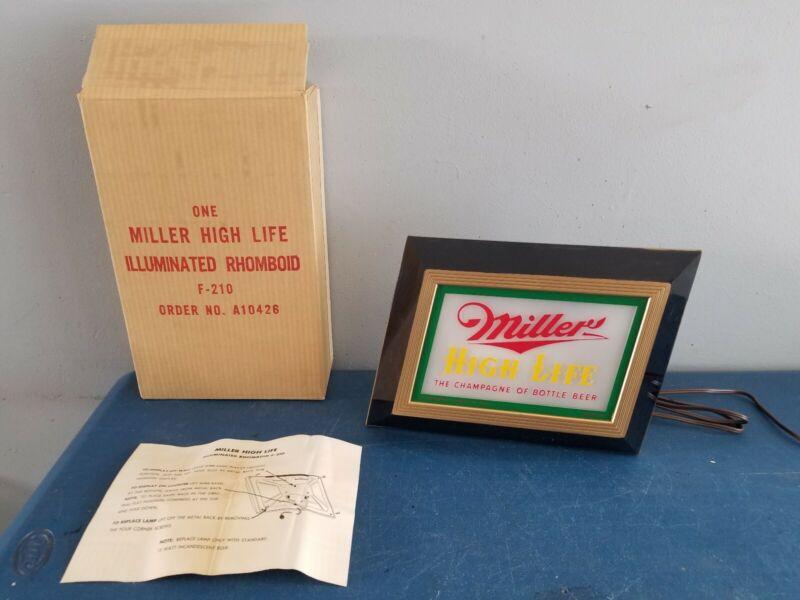 (VTG) 1952 Miller high life beer back bar light up sign game room man cave mib