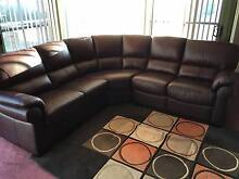 Leather Burgundy Five Seater Corner Sofa - EXCELLENT CONDITION! Bankstown Bankstown Area Preview