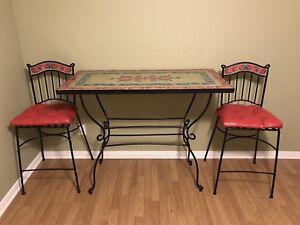 Table en céramiques et fer forgé Pier 1