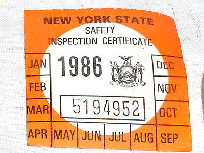 1 VINTAGE NOS 1986 NY N.Y.S NEW YORK STATE CAR AUTO SAFETY INSPECTION STICKER