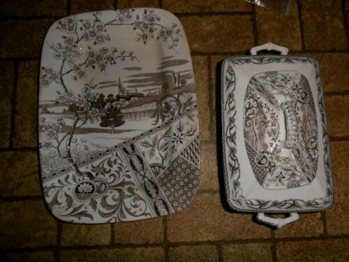 "14 1/2""  Aesthetic Movement T & R Boote England - Yosemite Transferware platter"