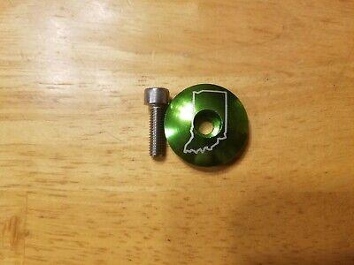 CNC Aluminum 1 1//8 Bicycle Headset Stem Top Cap Ano Green Revolver w Rubber Cap