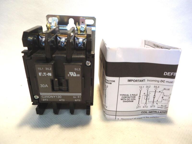 NEW EATON/CUTLER HAMMER C25DNY130 30 AMP 208-240V COIL CONTACTOR C25DNY130B
