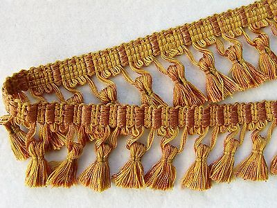"""BY THE YARD ~ 2 1/2"""" Yellow Gold/Copper Tassel Fringe Trim ~ Pillows Drapery"""