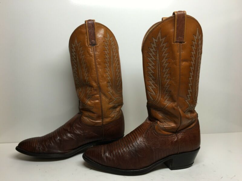 VTG, MENS, DAN, POST, COWBOY, LIZARD, SKIN, BROWN, BOOTS, SIZE, 8, EW