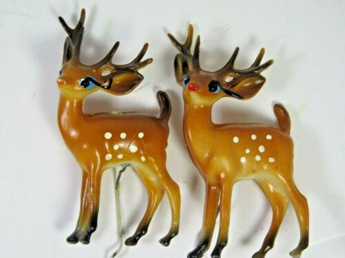 2 Vintage Hard Plastic Reindeer Deer Bucks Blue Eyed Xmas Picks Hong Kong A4802