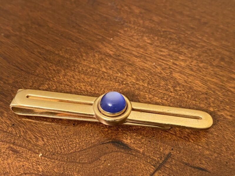 Blue Cabochon Gold Tone Vintage Tie Bar Clip