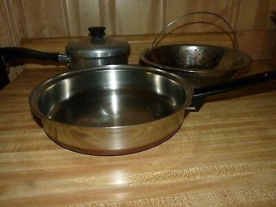 "Imperial waterless cookware + copper bottom heavy 10"" pan (USA) + strainer"