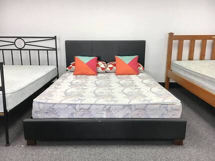 DELIVERY TODAY MODERN Queen LEATHER bed & mattress QUICK SALE