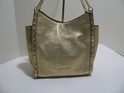 Authentic Michael Kors Newbury Pebble Leather Med Chain Shoulder Bag - Pale Gold