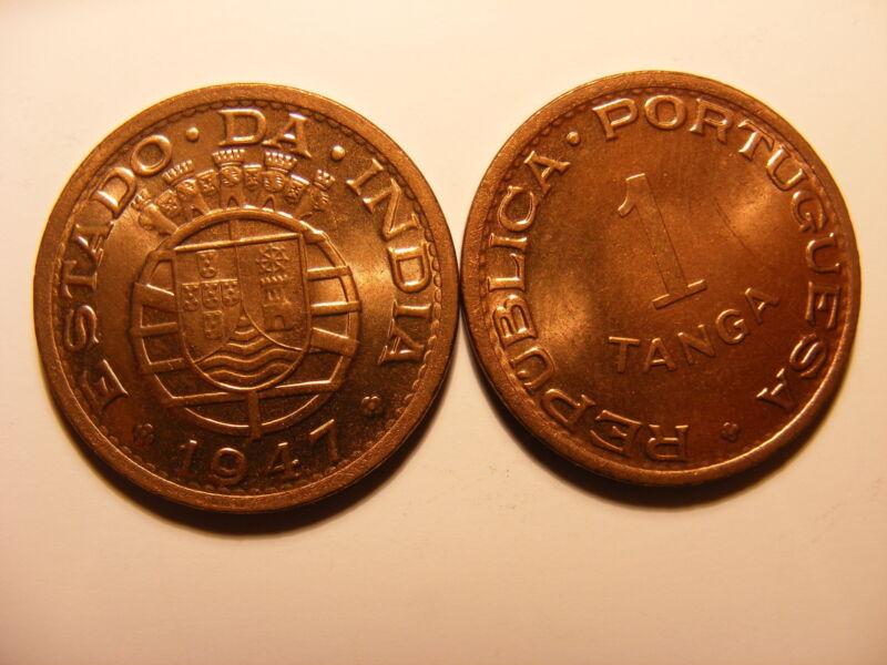 Portuguse India 1947, Tanga, KM#24, One Year Type, FULL RED UNCIRCULATED