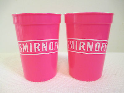 2 New Smirnoff Glasses Hot Pink 12 oz Plastic Drinking Cup Ice Vodka Party ()