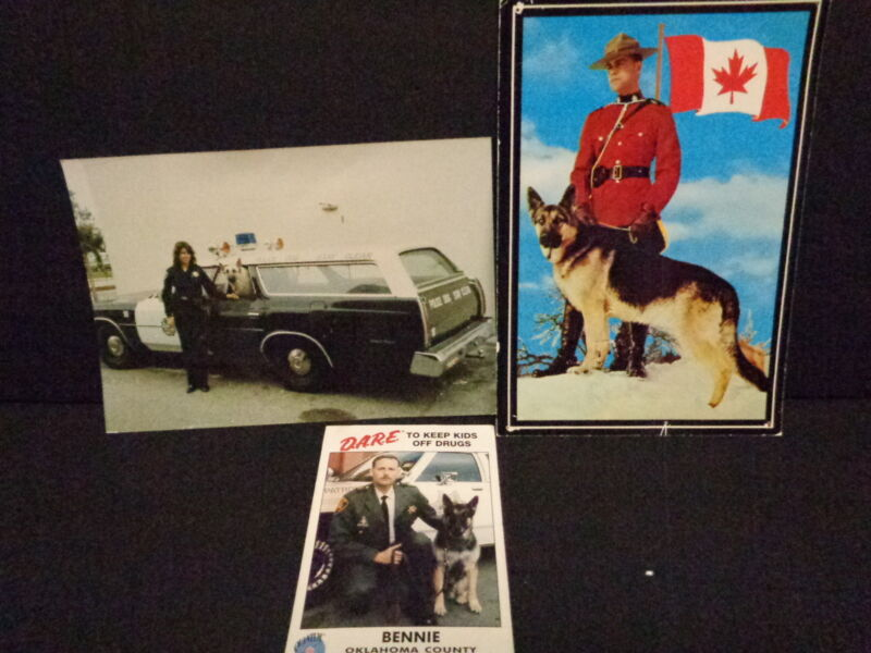 POLICE OFFICER PHOTOS WITH CANINE PARTNERS, K-9, SET OF THREE, D.A.R.E., RCMP