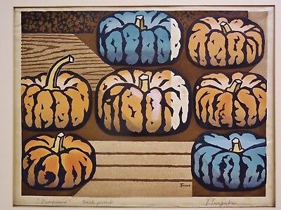 Large Hand Signed (Tomoo Inagaki Pumpkins Woodblock Trial Proof Hand Signed Japan Large Print)