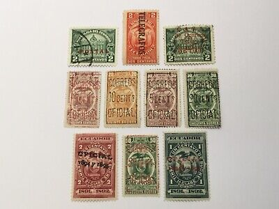 old stamps  ECUADOR    x  10 optd/surcharged
