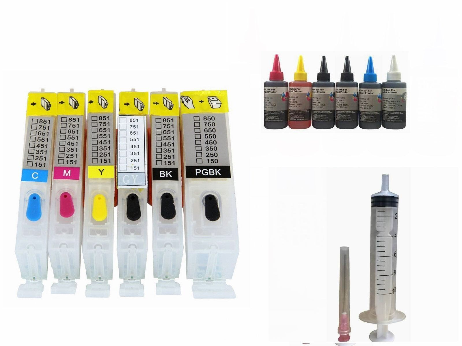 6 Empty Refillable Kit Ink Cartridge For Canon Pgi-270xl ...