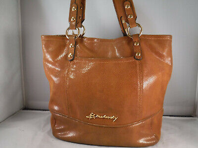 PM2 B MAKOWSKY RUST BROWN SNAKE PRINT LEATHER BAG TOTE PURSE CARRY ALL HOBO