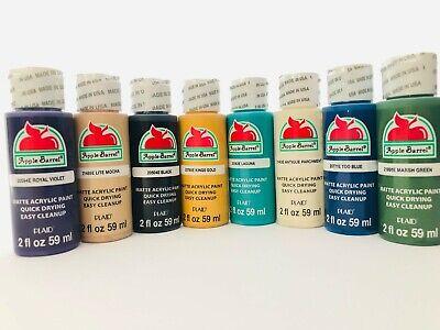 Apple Barrel 8 Pack Matte Finish Multi Color Acrylic Paint Value Set New
