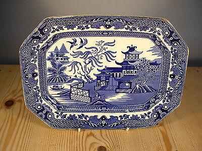 "Burleigh Ware Blue & White ""Willow"" Rectangular Plate"