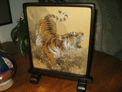 Fabulous Tiger Cat Original Signed Painting Chinese Wood Frame w/Beautiful Stand