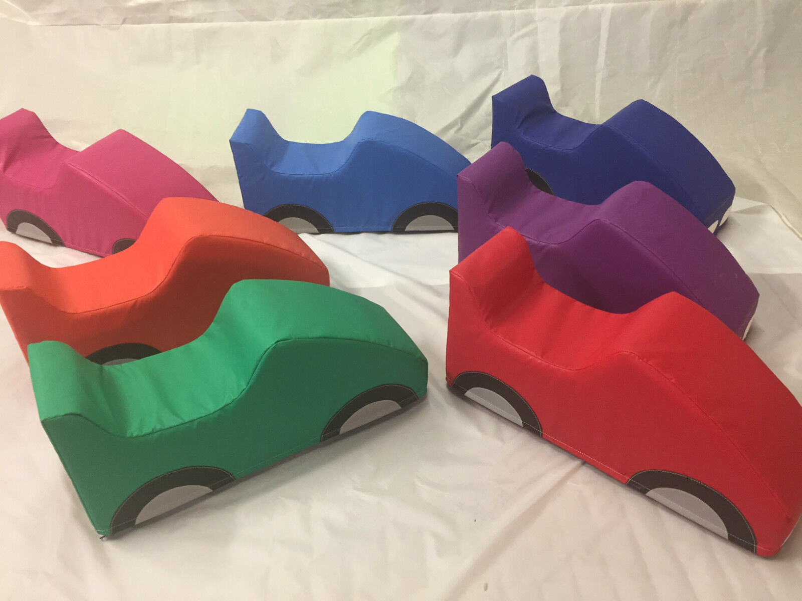 3 x Soft Play Sit on Car  Approx 30 x 15 x 8 inch Mixed Colours
