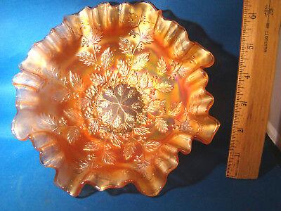 "Carnival Glass Bowl Fenton Holly & Berry Marigold 8 1/2"" Scalloped  @9"