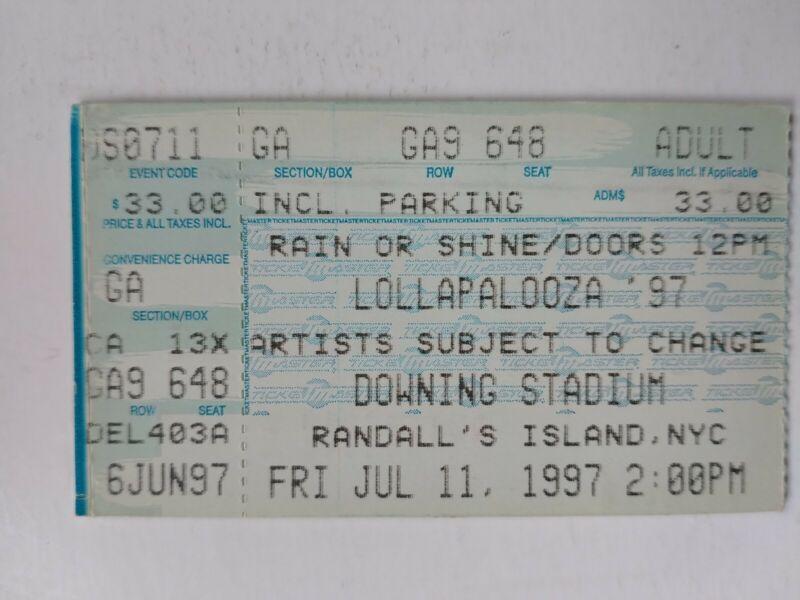 Lollapalooza 1997 NYC Concert Ticket Stub