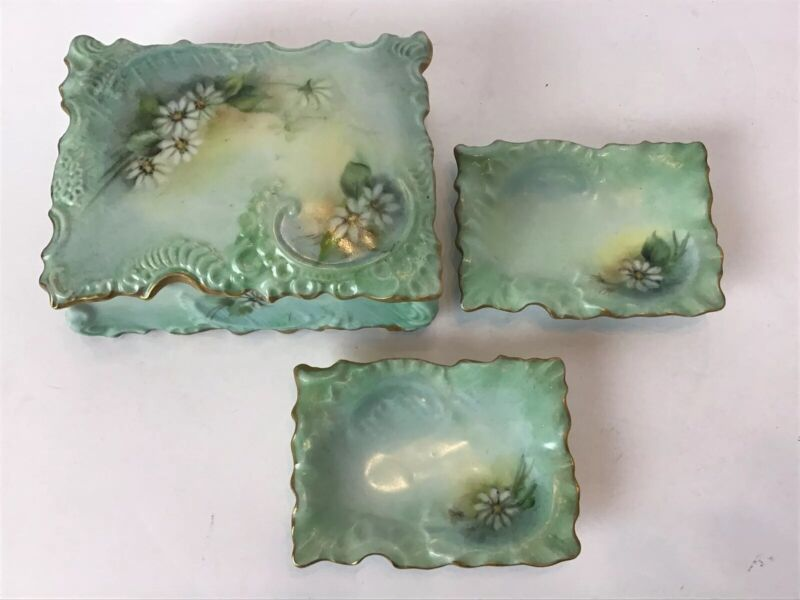 4 Pc Victorian Porcelain Hand Painted Box Trinket Tray Set Artist Signed 1969