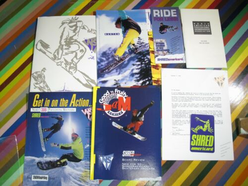 vtg 1990s Asstd. Snowboard promo flyer spec sheet catalog + NSI Good Fruity Jam