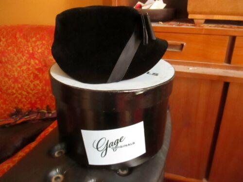 IN BOX True Vtg 50s GAGE ORIGINALS BLACK RIBBON VELOUR/VELVET Pillbox Hat sz 22