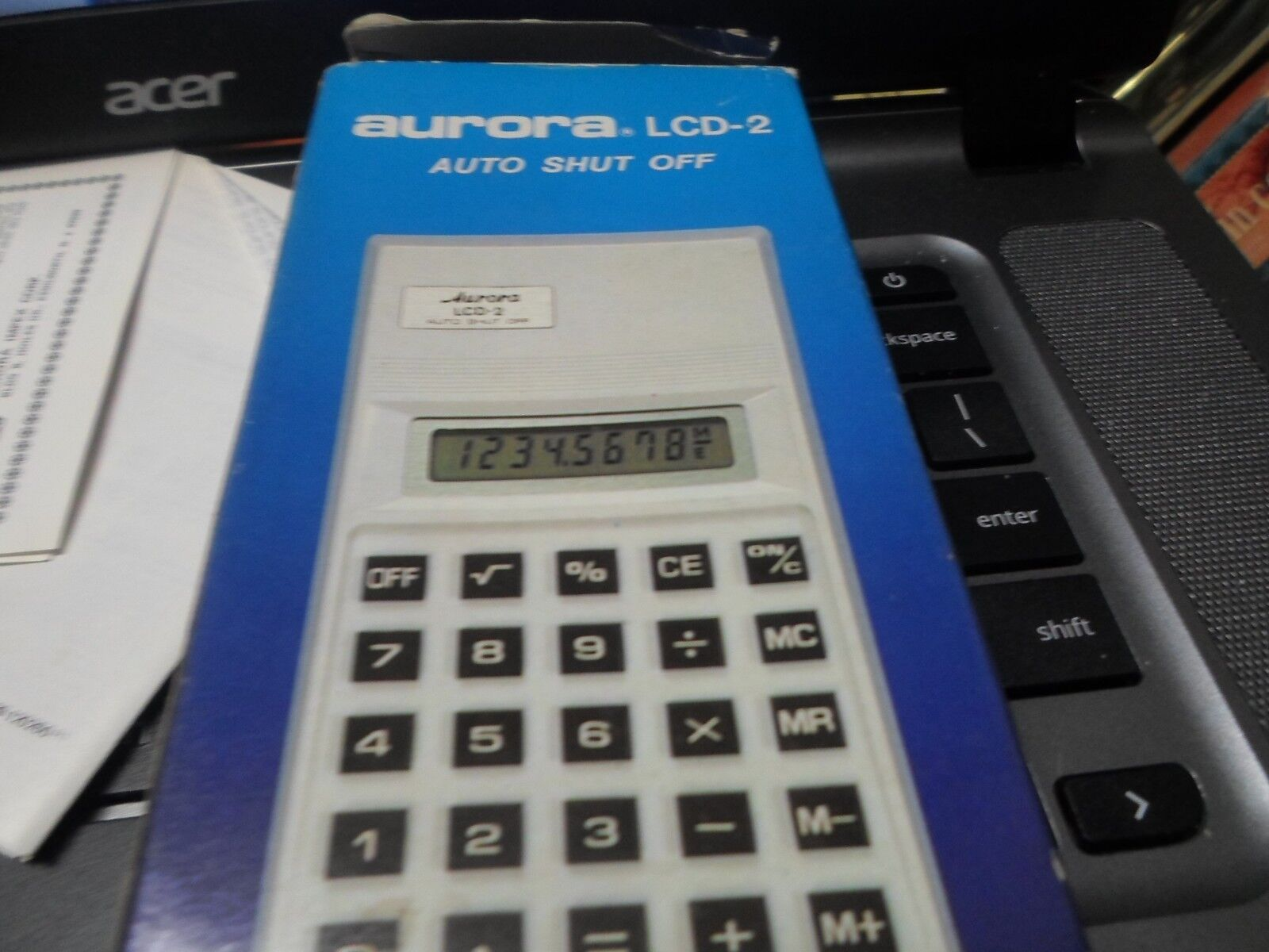 VINTAGE AURORA LCD-2 CALCULATOR with box and instructions
