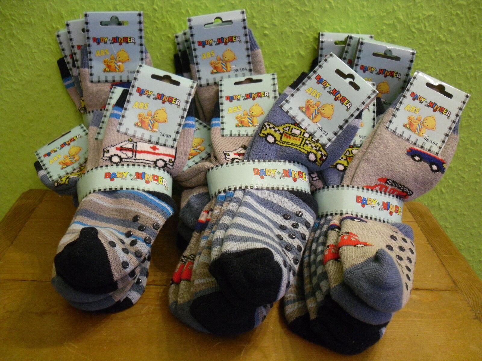 3 Paar Baby Kinder ABS Socken Stopper Autos Feuerwehr Taxi Frotteesocken 74-104