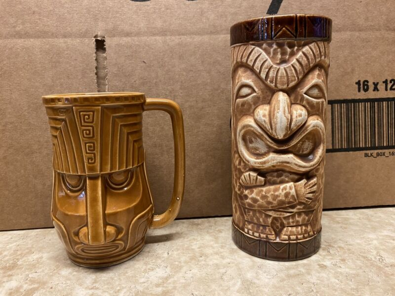 2 Vintage Tiki Mugs OMC & Westwood Excellent Condition