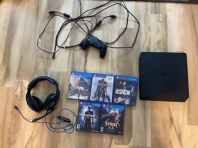 Sony PlayStation 4 Slim 500GB Black Gaming Console Bundle-controller And Games