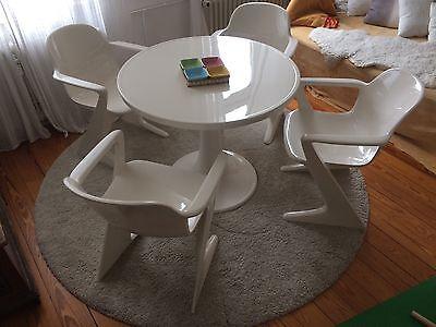 Sitzensemble 4xZ-Stuhl DDR und Tisch 70er Space Age Ernst Moekl Kangeroo I