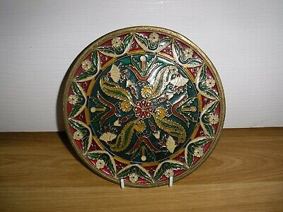 Vintage Cloisonne Wall Plate ~ Brass And Enamel ~ Excellent Condition