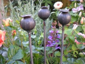 3 Plant Stakes, Metal,115cm Long Poppy Seed Head, Plant Support,Spike,decorative