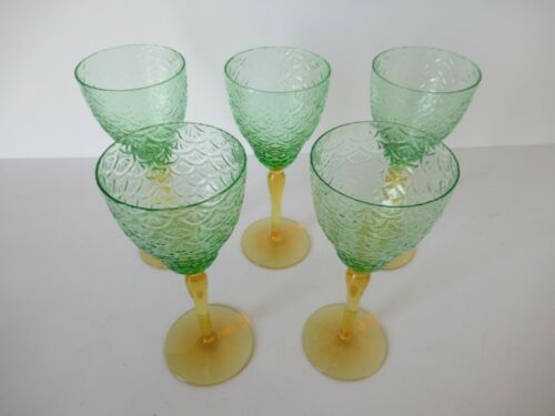 Set (5) semi-antique green & amber vaseline glass wine glasses