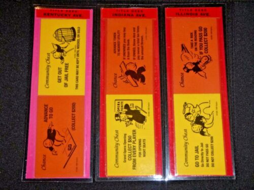 3 BOOKMARKS~MONOPOLY KENTUCKY+INDIANA+ILLINOIS AVE COMMUNITY  CHEST CHANCE