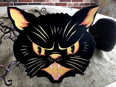 """Repro Vintage Angry Yellow and Black Cat Halloween Cardstock Decoration, 8 1/2"""""""