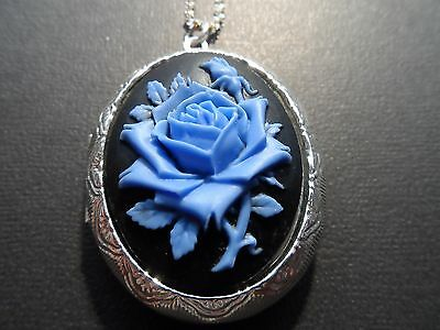 VICTORIAN OVAL  SILVER PLATED BLACK WITH BLUE ROSE CAMEO  LOCKET.