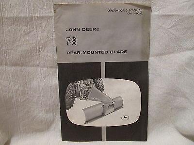 Vintage John Deere Operator's Manual 78 Rear-Mounted Blade