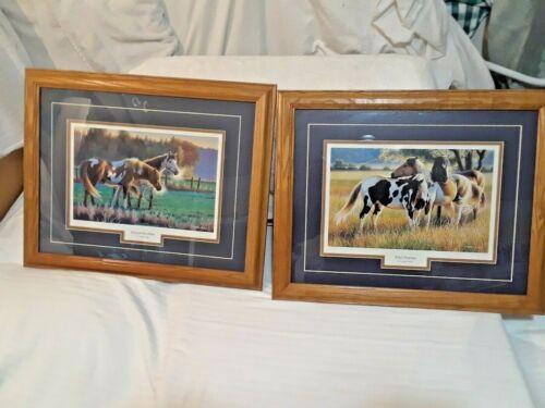 "(2) WILD HORSES PRINTS W/ DARK OAT FRAMES BY ""CYNTHIE FISHER"""