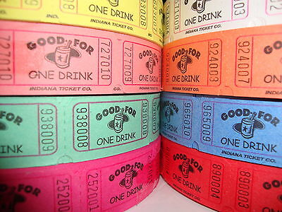 Single Roll Event Party Carnival Tickets - 2000 Good For One Drink - Carnival Beverage