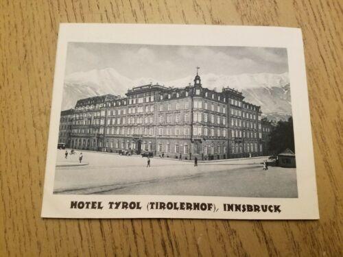 RARE 1932 Hotel Tyrol Tirolerhof Innsbruck Austria Photo Info Brochure Brixener