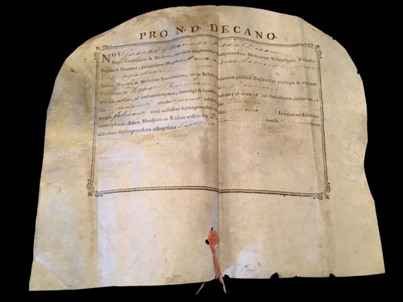 BACHELOR IN MEDICINE CERTIFICATE 1787