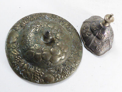 Antique Repousse Silver plate Flower fruit pattern lot of 2 lids for bowl or pot