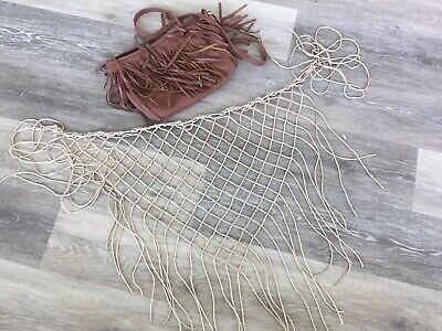 Lot of 2 fringed small purse and beaded fishnet shawl, boho, festival, Halloween