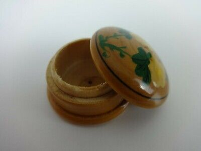 Handmade Ring Box Trinket Pill Turned Wood Hand Painted Floral Treen Design