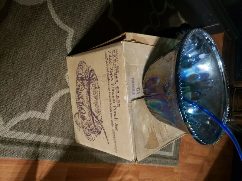 Vintage Indiana Blue Iridescent Carnival Glass Grape Punch Bowl Set no ladle